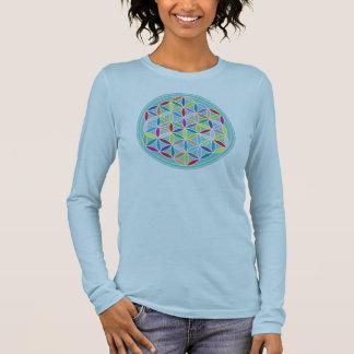 Flower of Life – Multicoloured on Blue Long Sleeve T-Shirt