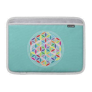 Flower of Life – Multicoloured on Blue MacBook Sleeve