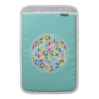 Flower of Life – Multicoloured on Blue Sleeve For MacBook Air
