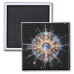 Flower of Life on Earth Square Magnet