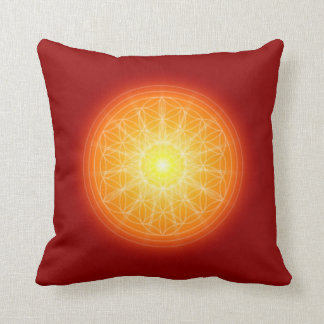 flower of life on sun mandala throw pillow