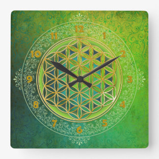 Flower of Life - Ornament II Square Wall Clock