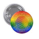 Flower of Life - Ornament Rainbow gold 3 Cm Round Badge