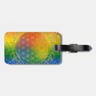 Flower of Life - Ornament Rainbow gold Luggage Tag