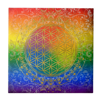 Flower of Life - Ornament Rainbow gold Small Square Tile