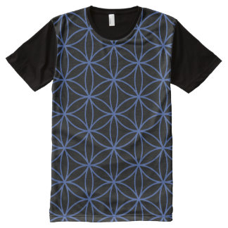 Flower of Life Pattern – Blue on Black All-Over Print T-Shirt
