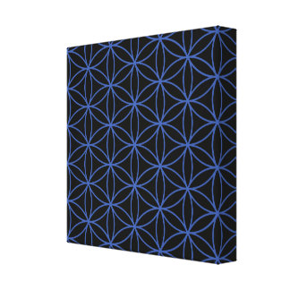 Flower of Life Pattern – Blue on Black Canvas Print