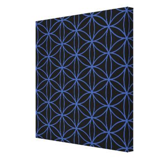 Flower of Life Pattern – Blue on Black Stretched Canvas Print