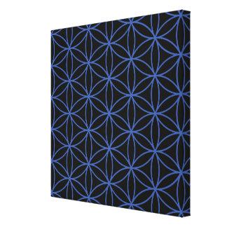 Flower of Life Pattern – Blue on Black Canvas Prints