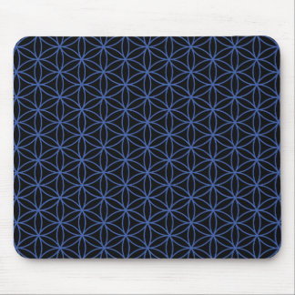 Flower of Life Pattern – Blue on Black Mousepad
