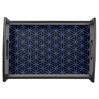Flower of Life Pattern – Blue on Black Serving Tray