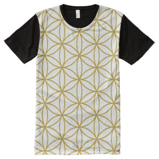 Flower of Life Pattern Gold on White All-Over Print T-Shirt