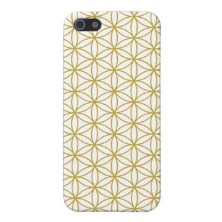 Flower of Life Pattern – Gold on White iPhone 5 Case