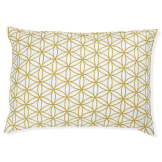 Flower of Life Pattern Gold on White Pet Bed