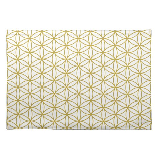 Flower of Life Pattern – Gold on White Placemat