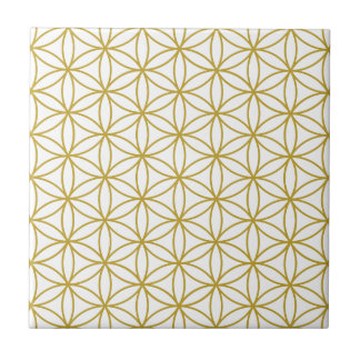 Flower of Life Pattern – Gold on White Small Square Tile