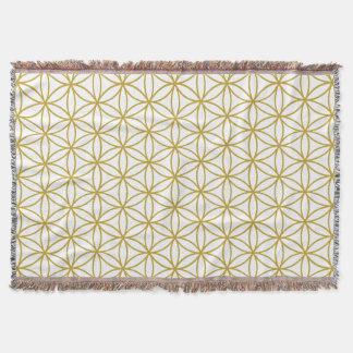 Flower of Life Pattern – Gold on White Throw Blanket