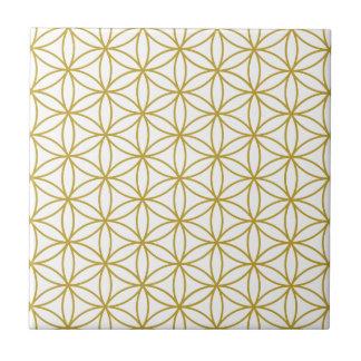 Flower of Life Pattern – Gold on White Ceramic Tile