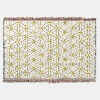 Flower of Life Pattern Gold Throw Blanket