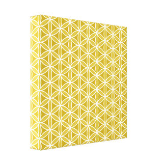 Flower of Life Pattern – Golds & White Stretched Canvas Print