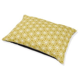 Flower of Life Pattern – Golds & White Pet Bed