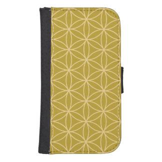Flower of Life Pattern Light Gold on Gold Samsung S4 Wallet Case