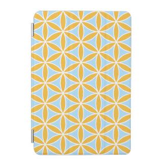 Flower of Life Pattern Orange White & Blue iPad Mini Cover