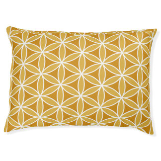 Flower of Life Pattern Oranges & White Pet Bed