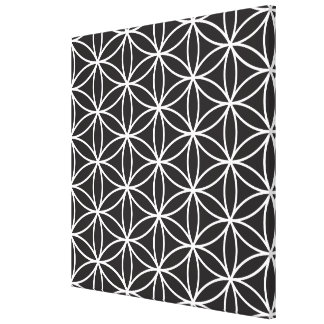Flower of Life Pattern – White on Black Gallery Wrap Canvas
