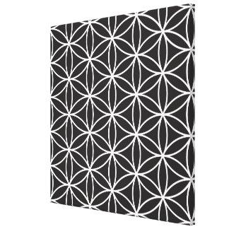 Flower of Life Pattern – White on Black Canvas Prints