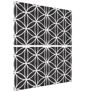 Flower of Life Pattern – White on Black Canvas Print