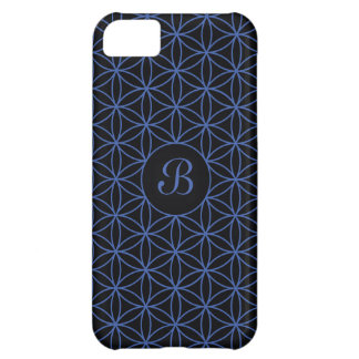 Flower of Life Ptn Personalised – Blue on Black iPhone 5C Covers