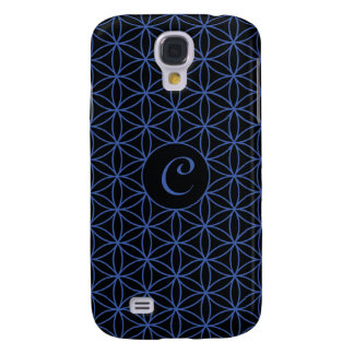 Flower of Life Ptn (Personalised) – Blue on Black Galaxy S4 Case