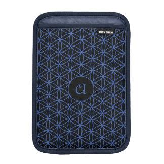 Flower of Life Ptn (Personalised) – Blue on Black iPad Mini Sleeve