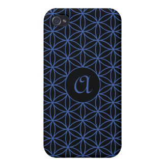 Flower of Life Ptn (Personalised) – Blue on Black iPhone 4 Cases
