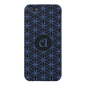 Flower of Life Ptn Personalised – Blue on Black Cover For iPhone 5/5S