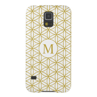 Flower of Life Ptn (Personalised) – Gold on White Cases For Galaxy S5