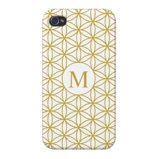 Flower of Life Ptn (Personalised) – Gold on White iPhone 4 Covers