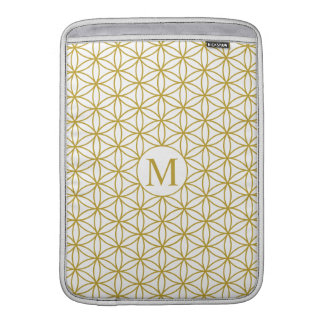 Flower of Life Ptn (Personalised) – Gold on White Sleeve For MacBook Air