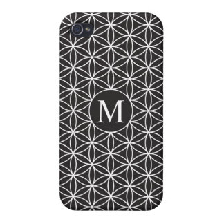 Flower of Life Ptn (Personalised) – White on Black iPhone 4 Cover