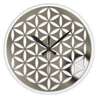 FLOWER OF LIFE - punch - silver / Blume des Lebens Large Clock