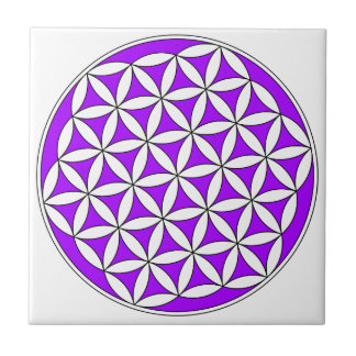 Flower of Life Purple Small Square Tile
