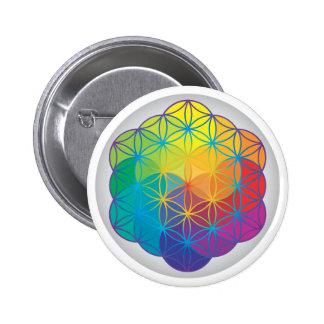 Flower of Life Rainbow Colors Harmony Energy 6 Cm Round Badge
