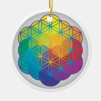 Flower of Life Rainbow Colors Harmony Energy Round Ceramic Decoration