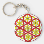 Flower of Life Red Yellow Keychain