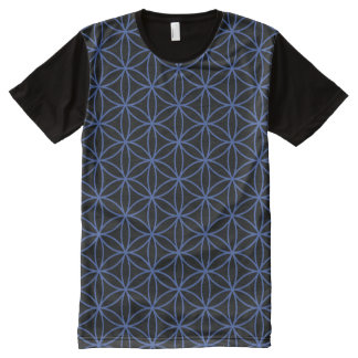 Flower of Life Repeat Pattern Blue on Black All-Over Print T-Shirt