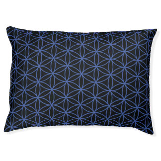 Flower of Life Repeat Pattern Blue on Black Pet Bed