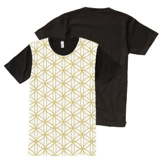 Flower of Life Repeat Pattern Gold on White All-Over Print T-Shirt