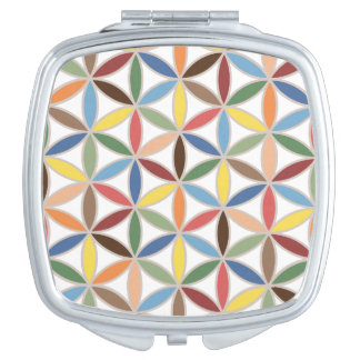 Flower of Life Retro Color Pattern Vanity Mirror