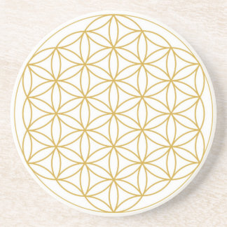 Flower Of Life Sandstone Coasters Gold White